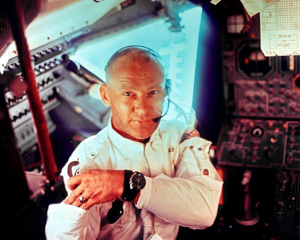El astronauta estadounidense Edwin 'Buzz' Aldrin, miembro del Apolo XI, durante la misión, el 20 de julio de 1969.
