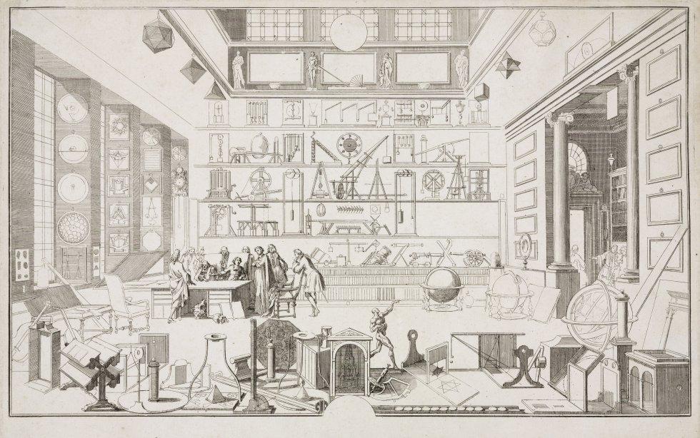 El 7 de enero de 1839 se celebra la reunión de la Academia de las Ciencias de París, donde se presenta la fotografía. Pero no es hasta el 19 de agosto de 1839 cuando la información se presenta al mundo. En la imagen, grabado inacabado realizado por Sebastian le Clerc de la Academia de las Ciencias de París, donde aparece un grupo de estudiantes reunidos en el laboratorio de física.