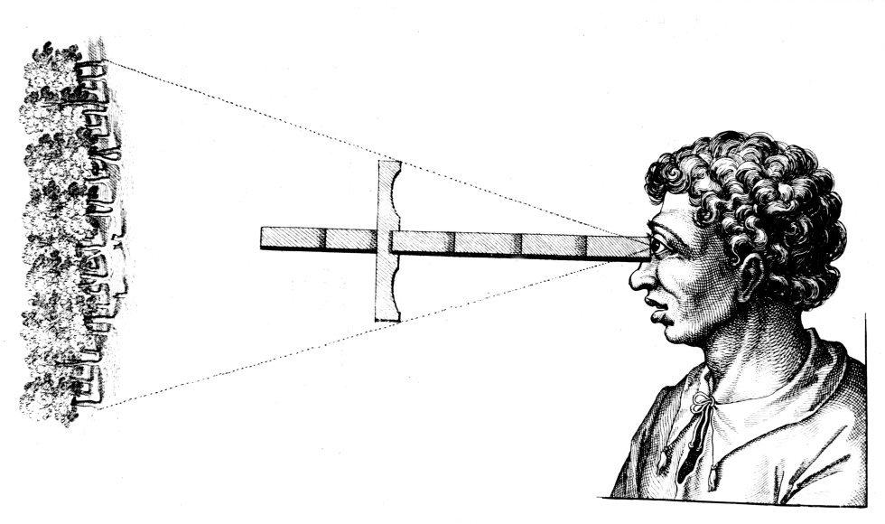 Desde los inicios de la historia hemos tenido el deseo de representar gráficamente lo que vemos, pero hicieron falta siglos de investigación en el campo de la óptica y la química para que se llegase a inventar lo que hoy conocemos por fotografía. En la imagen, un grabado explicativo de como obtener la distancia angular entre dos bordes de madera utilizando una cruz.