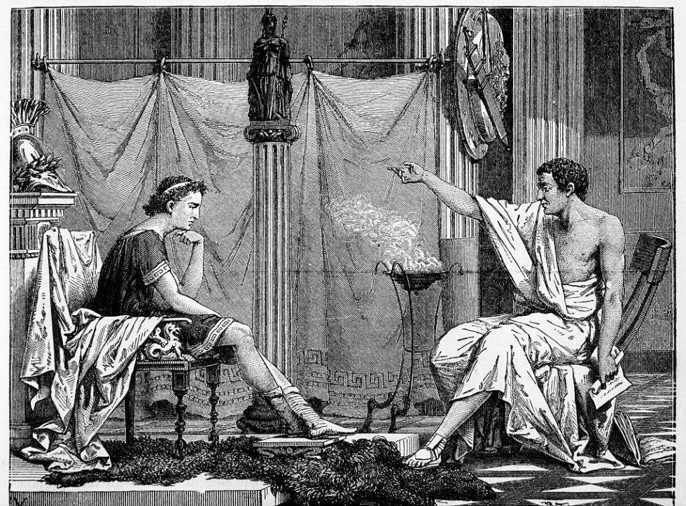 La cámara oscura se utiliza desde la Grecia clásica, aunque no con un fin fotográfico. Aristóteles y Euclides ya sabían que los rayos luminosos iban del objeto al ojo y no al revés. Fue muy popular en el Renacimiento, donde los pintores la utilizaban para calcar del natural cualquier objeto o escena. En la imagen, ilustración de 1885 donde aparece Aristóteles con su pupilo Alejandro Magno.