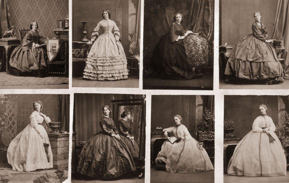 Los retratistas hacen que el retrato sea mucho más barato y se convierte en el primer producto de masas de la historia. Las cartas de visita constaban de una serie de retratos distintos que la persona entrega a sus conocidos. En la imagen, serie de fotografías como carta de visita, realizadas por un fotógrafo anónimo en 1860.
