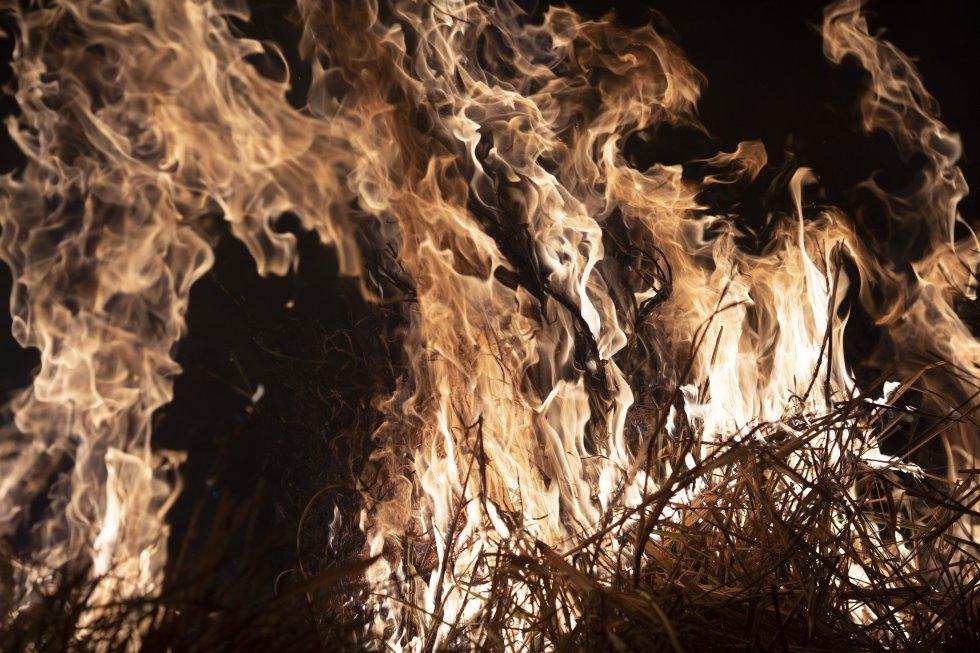 """""""Es cierto que el bosque amazónico sufre incendios regularmente, pero de ninguna manera esto significa que sea normal. La Amazonia no evolucionó con incendios frecuentes. Los fuegos recurrentes no son un elemento natural en la dinámica de la selva tropical, como sí lo son en otros entornos, como El Cerrado [una región de sabana ubicada principalmente en Brasil]"""", advierte la bióloga brasileña Manoela Machado. En la imagen, uno de los incedios del municipio brasileño de Nova Santa Helena debora un granja, el 23 de agosto."""