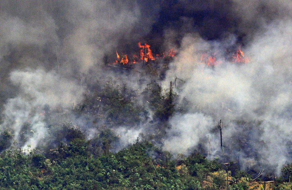 """El Instituto Nacional de Investigación Espacial (INPE) de Brasil ha detectado más de 76.620 focos en lo que va de año, casi el doble que en el mismo periodo de 2018 (41.400), pero una cifra no tan alejada de los 70.625 registrados en 2016. """"El número de incendios ha aumentado con respecto a los últimos años y está cerca del promedio a largo plazo"""", explica Alberto Setzer, investigador del INPE. En la imagen, columnas de humo en un tramo de fuego de dos kilómetros a unos 65 km de Porto Velho (Brasil), el 23 de agosto."""