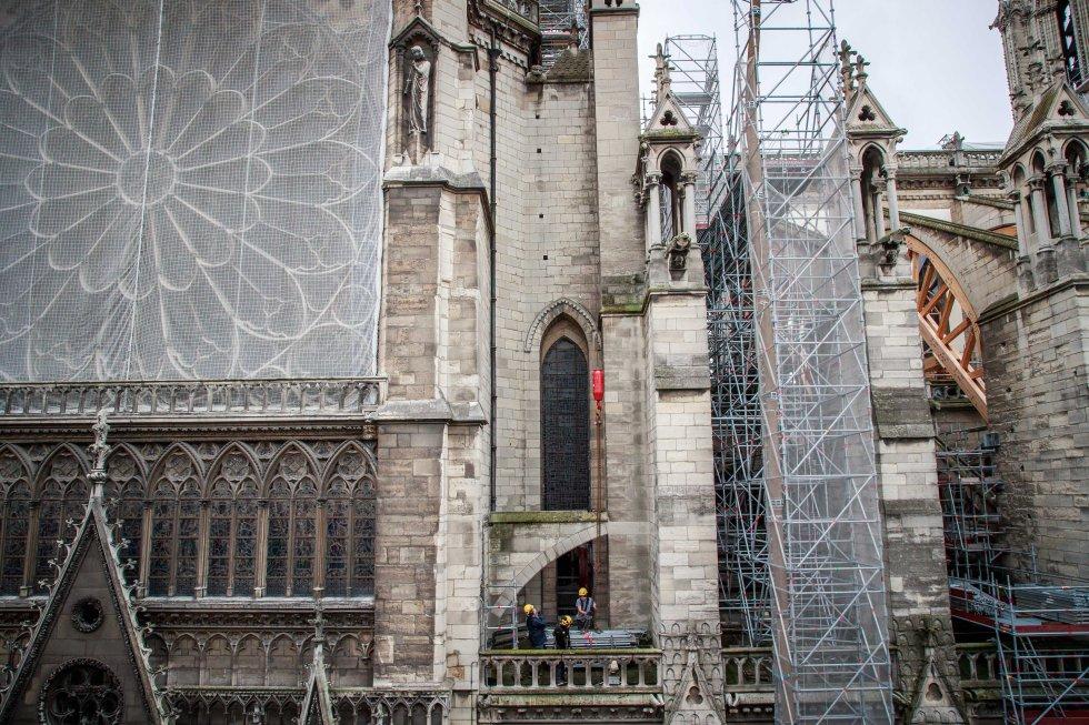 Trabajos de restauración de la catedral de Notre Dame, este jueves.
