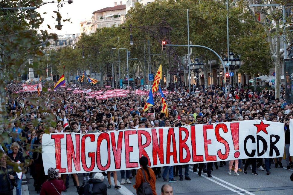 Los independentistas catalanes retoman las manifestaciones, en imágenes 1571152266_965287_1571162766_album_normal