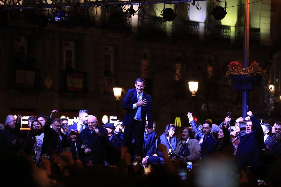 Juan Guaidó, durante su discurso ante los venezolanos concentrados este sábado en la Puerta del Sol de Madrid.