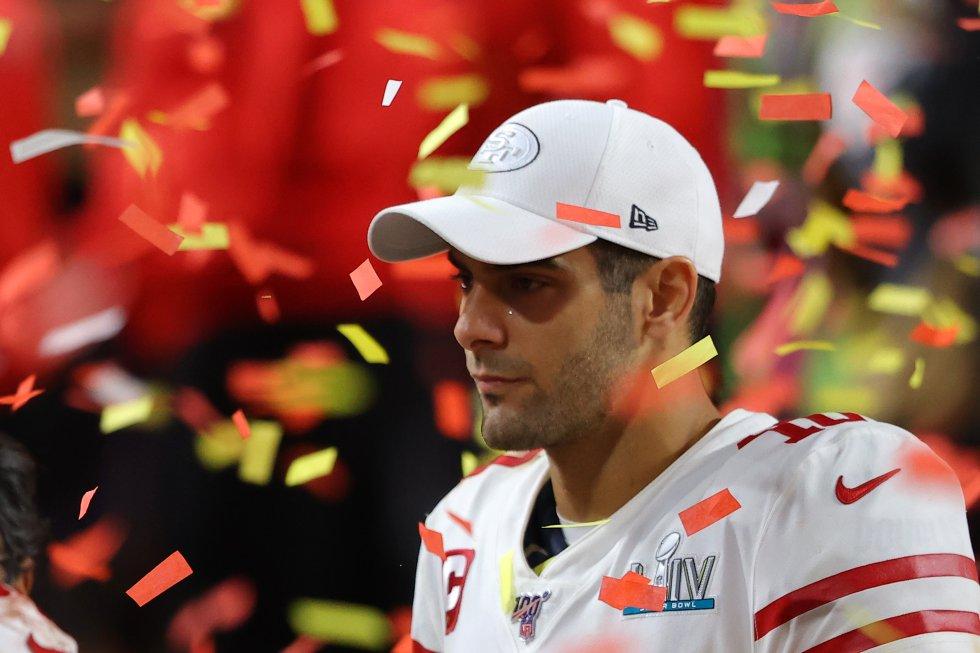 Jimmy Garoppolo, 'quarterback' de San Francisco, tras la derrota de su equipo.
