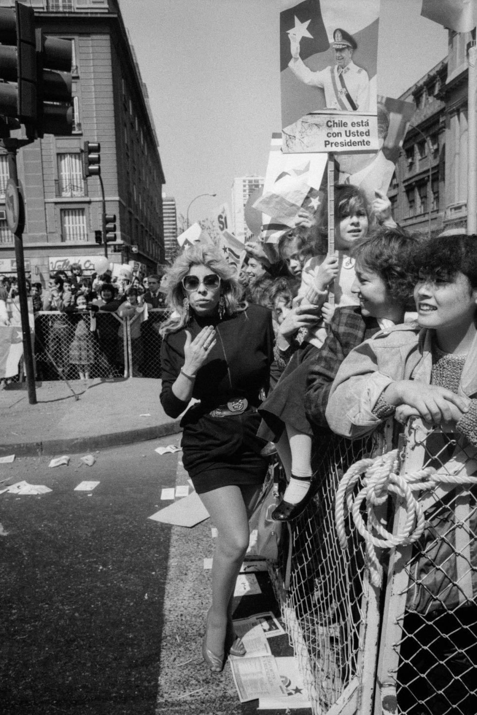 Manifestantes por el 'sí', en Santiago de Chile, en 1988.