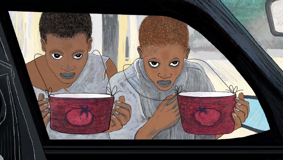 Un día vi a una mujer en un coche muy grande y se detuvo en el semáforo. Llevaba unas grandes gafas. Inmediatamente, los niños con botes de tomate corrieron a pegarse a la ventana del auto, como moscas que se abalanzan sobre un mango maduro que cae de un árbol. En el coche había niños con grandes piruletas. Las chupaban mientras miraban a los 'botes de tomate' a través del cristal. Y ellos les miraban de vuelta con ojos muy abiertos que decían: 'Nosotros también queremos piruletas'.