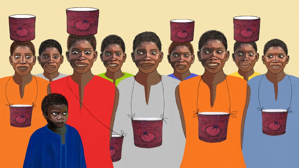 En la esquina de mi calle había una casa en construcción, abandonada, sin puerta, sin ventanas, sin techo y sin baños. Un día, un hombre vino a instalarse allí con niños 'botes de tomate': Mamadou, Mor, Moussa, Daouda, Demba, Pathé, Alassane, Amadou, Alioune, Fallou, Fodé, Thierno, Tidiane, Tapha, Omar, Ousmane, Ousseynou, Sidy, Seydou, Saliou, Lamine, Elimane, Boubacar, Bala, Bassirou y 007.  A nosotros, los niños del barrio, nos gustaba mirarlos por la ventana que no tenía ventana. Yo quería descubrir cómo los niños crecían en los botes de tomate. Un día, el 21 de marzo, llegó una señora con un niño, Ndongo. Tenía cinco años.    Su padre, no lo conocemos; su madre, ella... Perdió la cabeza. Quiero que le enseñes el Corán. No es como su madre, tiene cabeza, aprende muy rápido, pero es terco. Si no obedece, golpéalo. Y el 'morabito' respondió: '¿Él es terco? Déjalo ahí. Si le agrada a Dios, le meteré algo en la cabeza. El pequeño Ndongo, con sus grandes ojos, no entendía lo que le acababa de pasar. Tampoco por qué estaban todos los niños a su alrededor mirándolo con sus botes de tomate bajo el brazo.  Ese día entendí que los niños talibés, los niños de la calle, no nacen en ellos. Es su familia quien los lleva a una daara, la escuela coránica, y los confía al hombre al que los niños llaman 'marabout' o maestro.