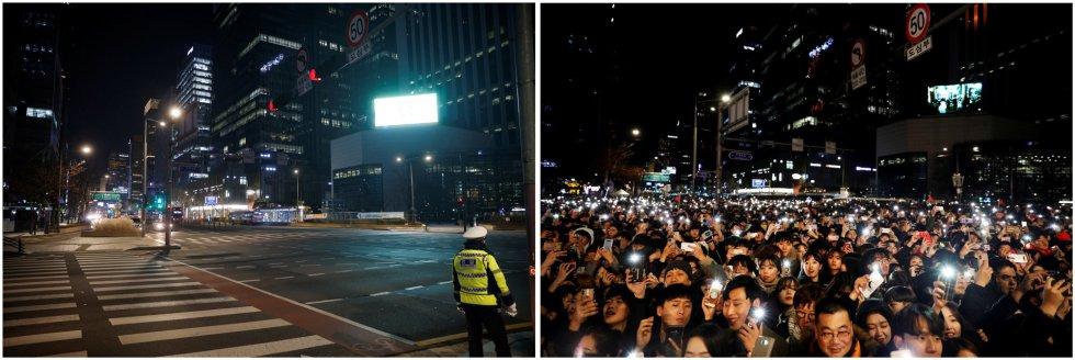 Essas duas imagens comparam pessoas que participaram de uma celebração de Réveillon em 31 de dezembro de 2019 (à direita) e um policial parado no mesmo local no último dia de 2020, em Seul, na Coreia do Sul.