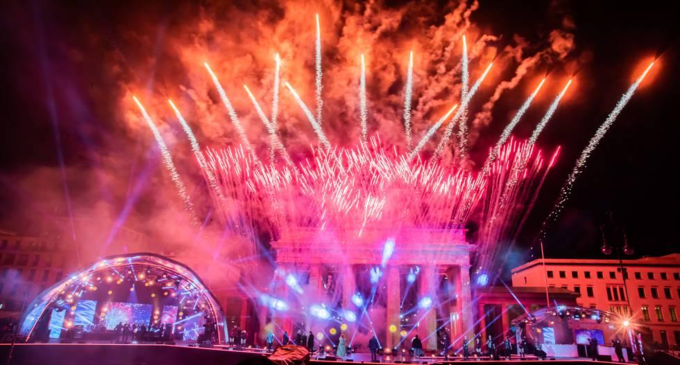 Celebração do Ano Novo em Berlim (Alemanha).