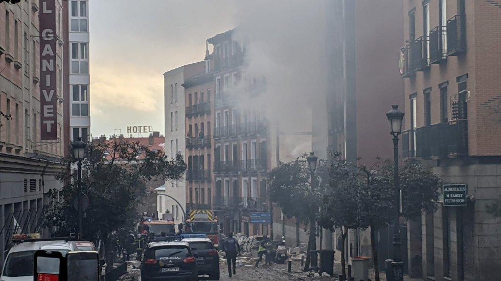 La zona afectada por la explosión, este miércoles en Madrid.