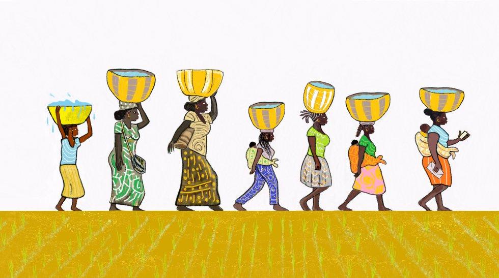 Aquella mañana, como el resto de mañanas, nos juntamos con las otras mujeres y niñas para ir a buscar agua, porque somos nosotras quienes hacemos ese trabajo en la aldea. Por ello, muchas, a diferencia de los chicos, no podemos ir a la escuela, ni estudiar o trabajar.