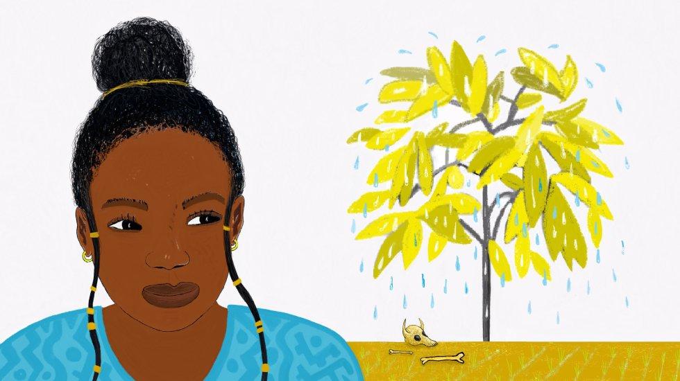 Durante días no pude dejar de pensar en el árbol que sudaba. Decidí preguntar a algunas personas importantes de la aldea qué podíamos hacer para que recuperara su verdor y se pusiera bueno.