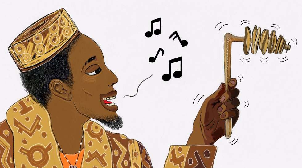 Abdou, que es de la familia de los músicos y que acababa de ser padre, me regaló un sonajero y me explicó que la música es mágica: con ella se pueden decir cosas sin decirlas y un árbol puede entenderlas.