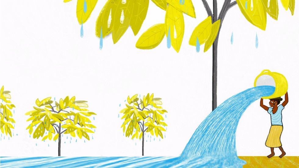 Y Oumi, la mejor amiga de mamá, con quien cada mañana íbamos a buscar agua, me recordó que, sin agua, ni las personas, ni los árboles podemos vivir. A partir de ese día, me gané alguna que otra regañina porque no conseguía que el cubo de agua que cargaba llegara a casa lleno. –¡Nana, no entiendo cómo pierdes tanta agua! –protestaba mamá. –El agua es un tesoro, hija –me repetía.