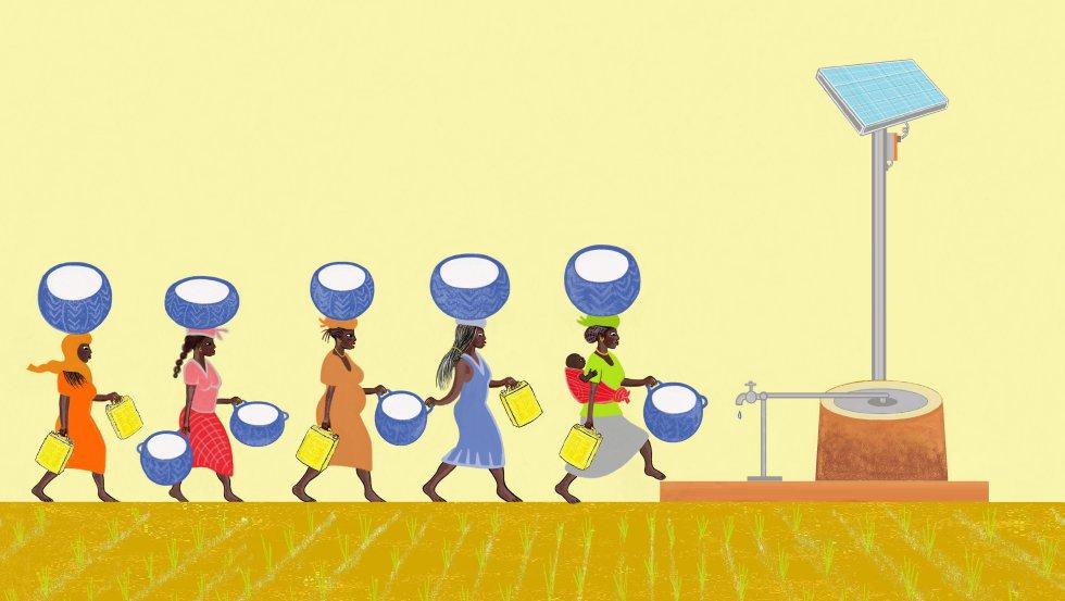 Mamá está muy contenta porque ya no tenemos que ir tan lejos en busca de agua y, ahora, ella y otras mujeres pueden trabajar cuidando de los pozos y las fuentes de la aldea.