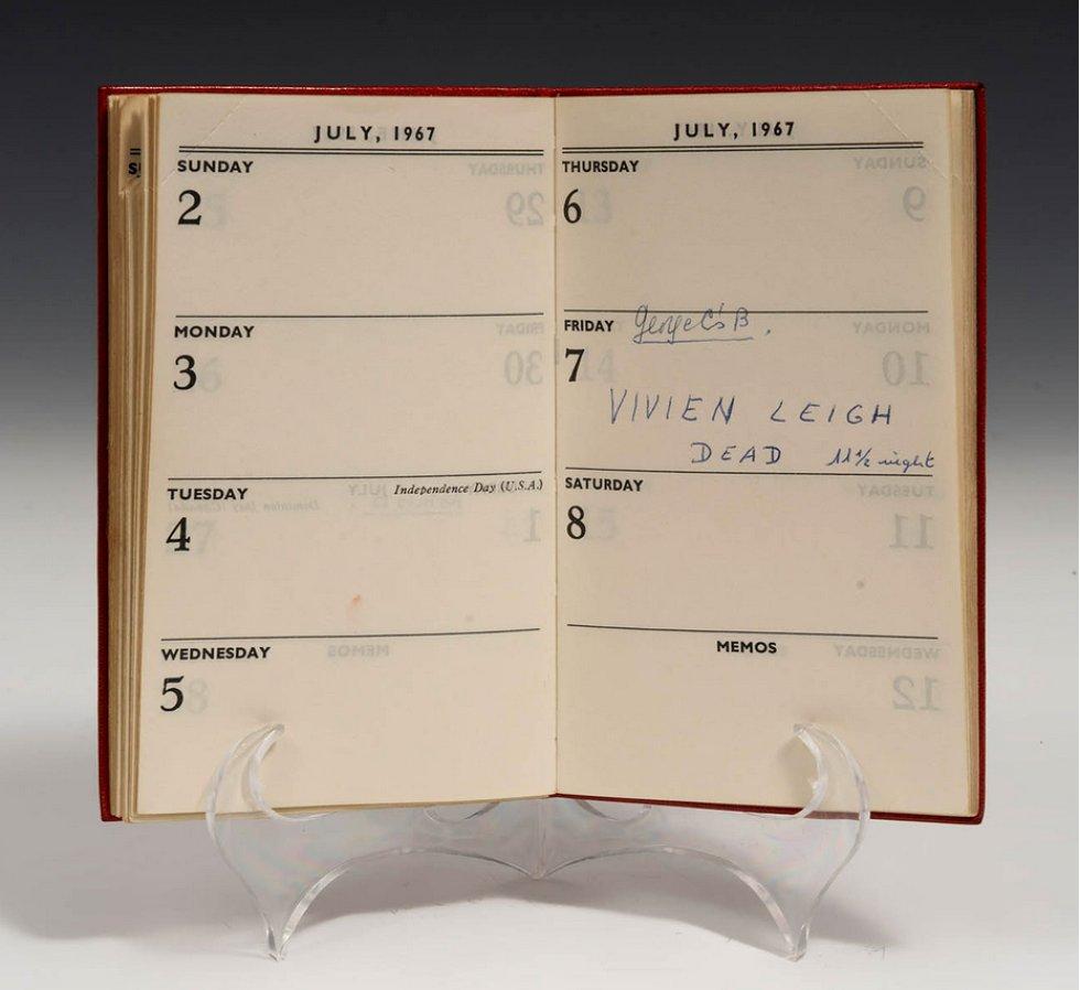 Agenda de Vivien Leigh de 1967, el año de su muerte.