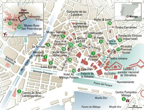 Mapa Turistico De Malaga.24 Horas En Malaga El Mapa El Viajero El Pais