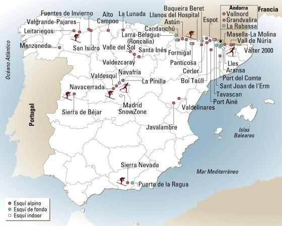 Mapa Estaciones Esqui España.Todas Las Estaciones De Esqui De Espana Y Andorra El