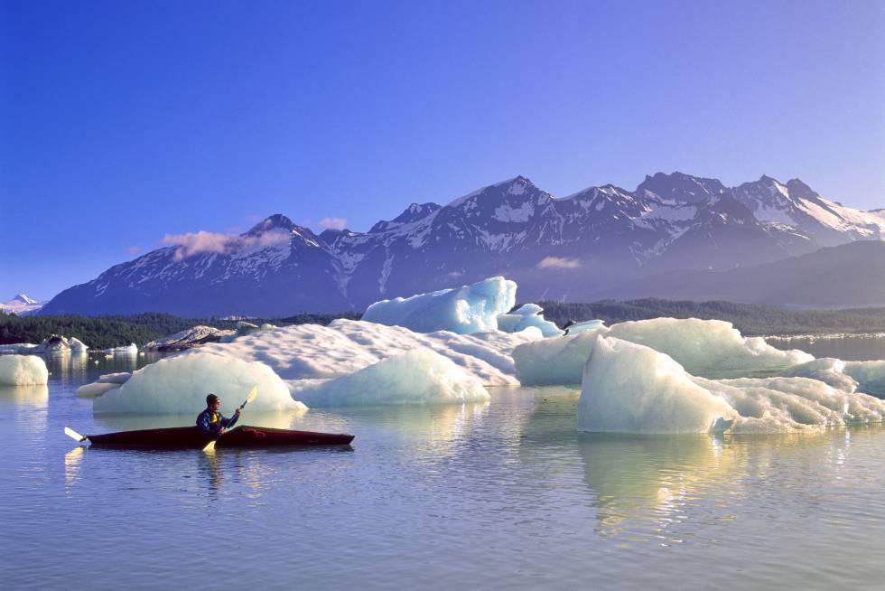 Glaciares (Alsek y Grand Plateau Bay) con montañas majestuosas como telón de fondo es el impresionante paisaje que recibe a los viajeros al llegar al lago Alsek, en la costa pacífica de Alaska, desde el río homónimo, que nace en Canadá. El lago delimita, por el oeste, la reserva de la Bahía de los Glaciares, parque nacional estadounidense que protege más de un millón de hectáreas de montañas, glaciares en movimiento, costa salvaje y profundos fiordos. Las empresas de turismo activo que operan en la zona animan a los navegantes a remar entre los icebergs gigantes que flotan en sus aguas cuando el tiempo lo permite.