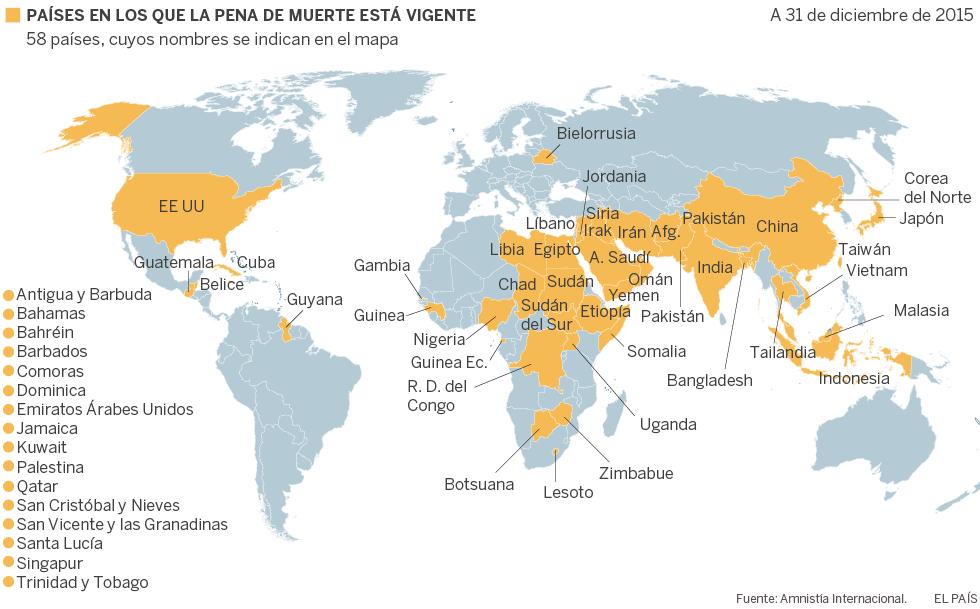 Resultado de imagen de pena de muerte en el mundo 2018