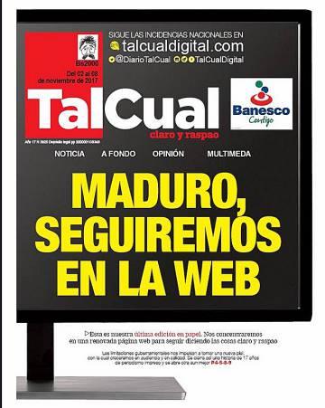 c8a06ecaf El diario venezolano  Tal cual  deja de circular en papel ...