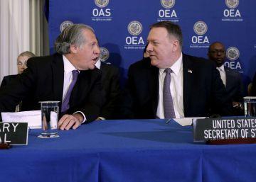Pompeo da un espaldarazo a Almagro en la OEA antes de su gira por Latinoamérica