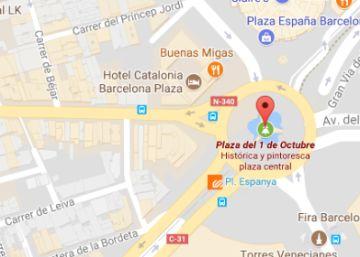La Plaza de España de Barcelona aparece en Google Maps como Plaza del 1 de Octubre