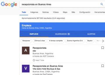 Google incorpora una función para buscar empleo