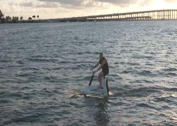 Así es pedalear sobre el agua: la bicicleta que permite navegar por lagos y océanos